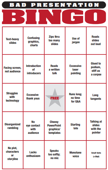 Bingo game to play during bad presentations